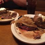 Same steak order but one is much larger than the other.