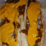 Twin chili dogs with cheese sauce