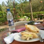 desayuno en el patio comun