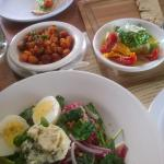 Hominey, decontructed bruschetta, Warm greens Salad