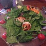 "Spinach Salad with ""tiger prawns"""