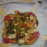 Salade crevettes saint jacques et filet de lieu jaune et son risotto!
