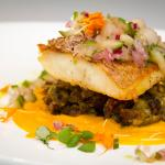 Grilled Red Snapper Fillet, Sweet Plantain Mofongo, Carrot, Cucumber, Pear Salsa