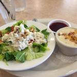 Lunch combo: chicken salad and cup of potato soup