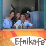 The helpful, awesome staff at Cafe Etnika, and the kitty!