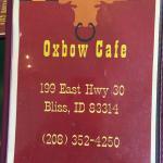 Oxbow Cafe menu cover.