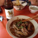 Noodle soup with steamed duck large portion for 90 bat! Very good