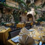 Dining open air in the courtyard during the summer season