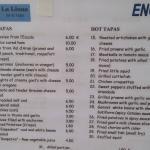 La Luna menu