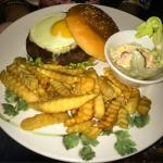 Beef Burger with eggs and french fries