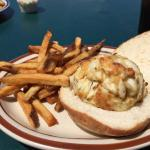 Broiled crab cake sandwich & fries