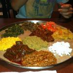 A platter of Ethiopian food.