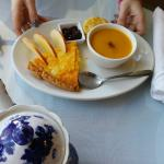 cheddar and onion tart and squash soup