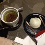 Green tea creme brûlée and mochi (rice and green tea)