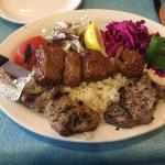Combination plate: Filet mignon sis kabob and lamb chops.... Delicious!