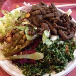 Lamb shwarma, salad and tabouleh