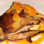 RHUBARB GLAZED DUCK CONFIT with Georgia Gouda polenta, grilled endive, apricot orange compote