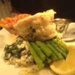 Lobster tail, seasonal risotto, asparagus
