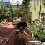 Lovely outside area to drink organic coffee!