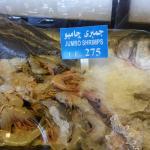 Opções de peixes e camarões