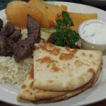 Beef Souvlaki Platter - tough and chewy