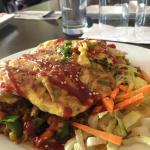 Vegetable fried rice, omelette on top.