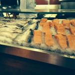 Fresh fish on display at the open kitchen