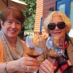 Enjoying Pinot Noir on the back deck