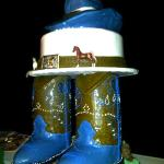 "This is a a ""boots"" wedding cake made by Neil Freitas the owner and lead baker of Olympic Bakery"
