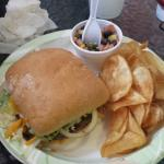 Burger, fresh chips, southern caviar