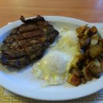 Special today,  prime rib home fries and eggs Yummy 4 the tummy