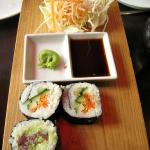 Tuna and Veggie Sushi with wasabi and soy sauce.