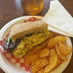 Curried Egg Salad, Bag of Chips, Martenelli's Apple Juice