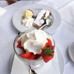 Strawberries with yoghurt and cream, and Apple strudel with ice cream!