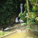 Beautiful hot and cold pools and waterfall