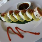 Tristar Roll = ground scallops, albacore, spicy tuna wrapped in soy paper