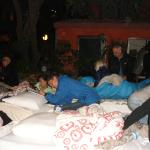 Dwarika's: Bedding down for the night after the earthquake.