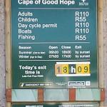 Entrance fee for Cape Point Nature Reserve
