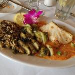 My dinner- Chilean Sea Bass w/Brussels sprouts & wild rice