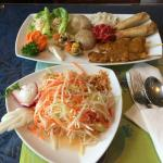Tum Moor salad and appetizer combination platter