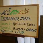 Quirky kids' specials menu.