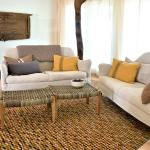 A patterned Gabbeh livens up this living room.