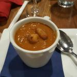Roasted tomato soup with crispy cheese curds