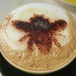 Choc bee on top of coffee