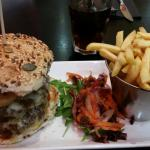 The Dirty Harry Burger with chunky chips or fries; and mac & cheese and chilli fires
