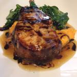 Pork chop with sweet pot and spinach. Amazing!