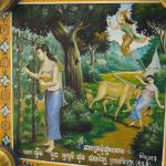One of the many murals under the eaves of the temple