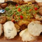 Super salmão com batatas rosti e torradas