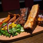 Slow cooked barbeque pork belly ribs