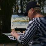 Linda Matthews demonstrating some water colour techniques
